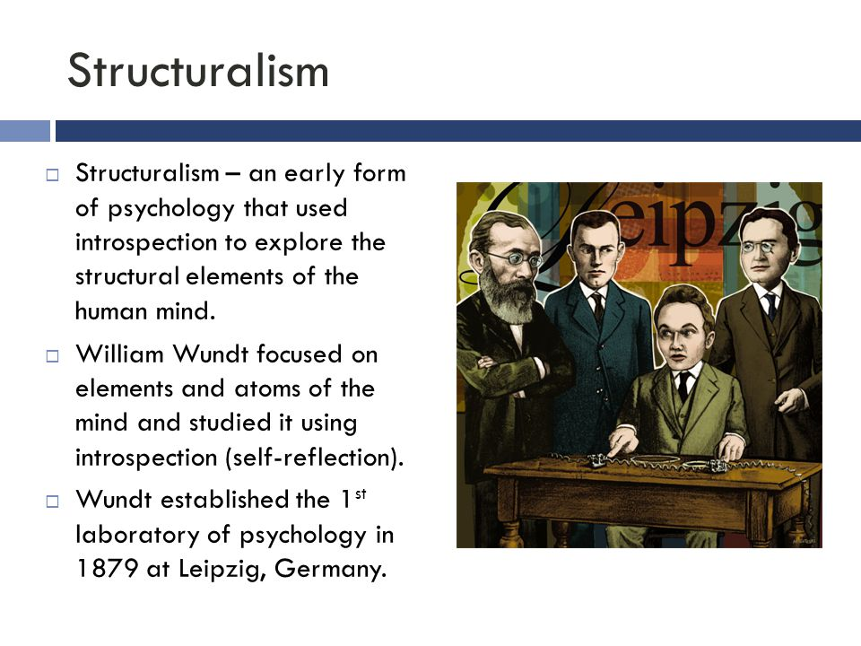 Structuralism Structuralism – an early form of psychology that used introspection to explore the structural elements of the human mind.