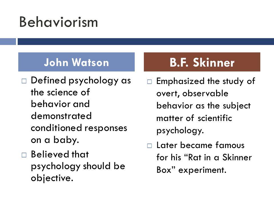 Behaviorism B.F. Skinner John Watson