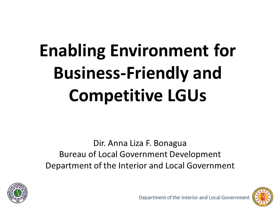 Enabling Environment for Business-Friendly and Competitive LGUs