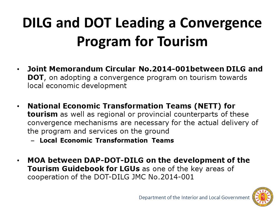 DILG and DOT Leading a Convergence Program for Tourism