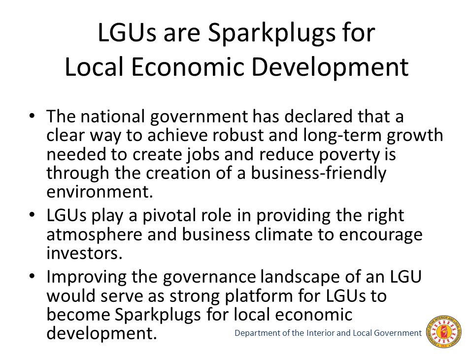 LGUs are Sparkplugs for Local Economic Development