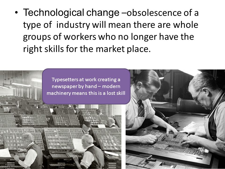 Technological change –obsolescence of a type of industry will mean there are whole groups of workers who no longer have the right skills for the market place.