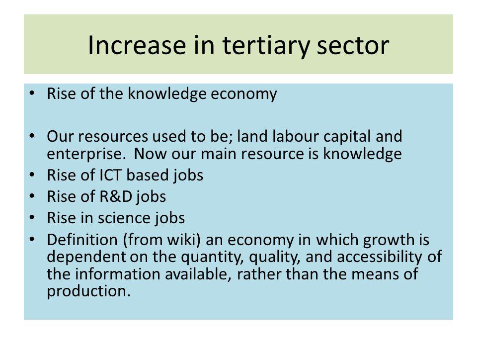Increase in tertiary sector