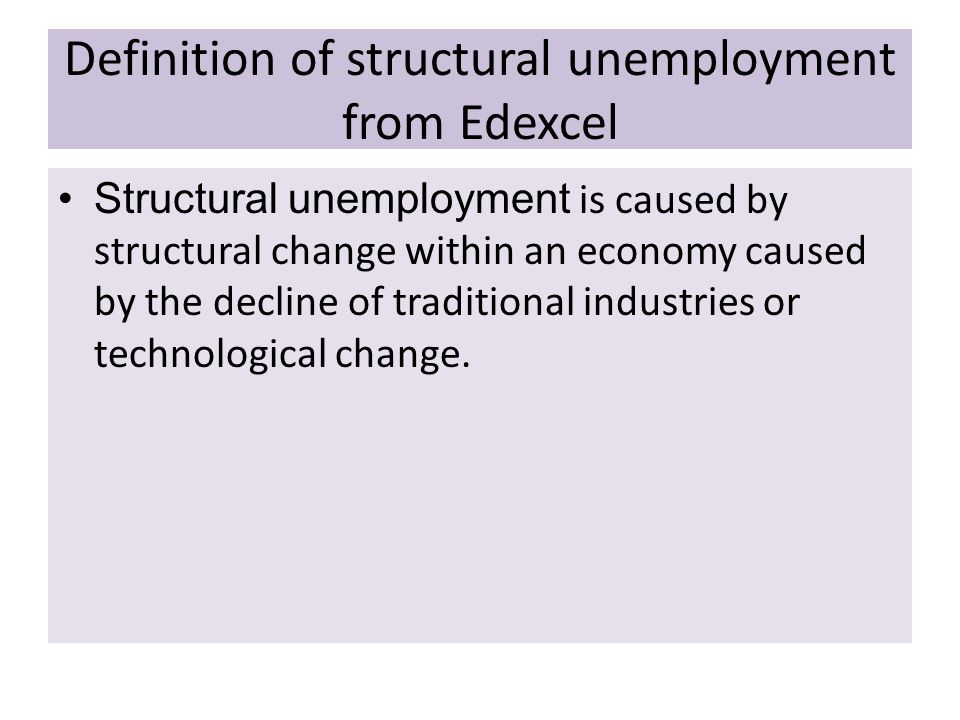 Definition of structural unemployment from Edexcel