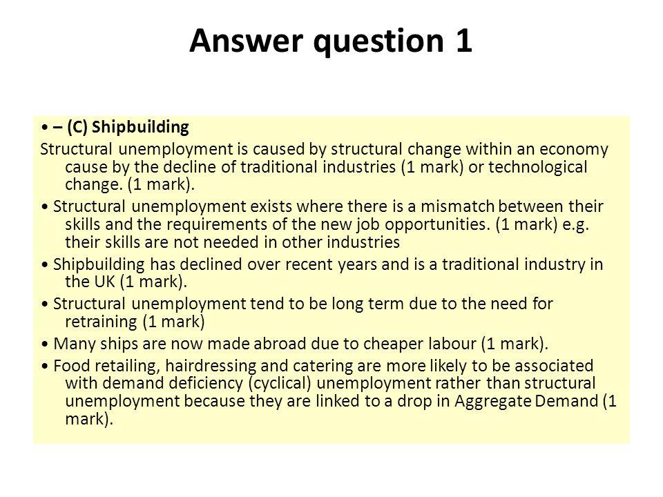 Answer question 1 • – (C) Shipbuilding