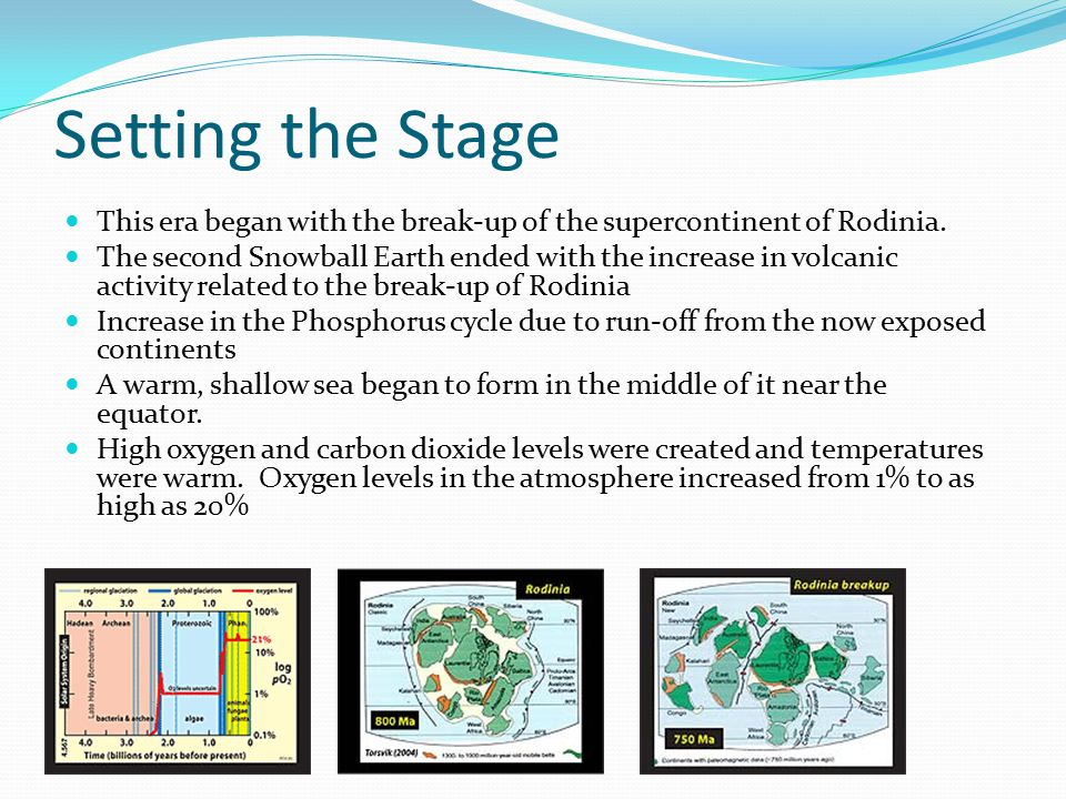 Setting the Stage This era began with the break-up of the supercontinent of Rodinia.