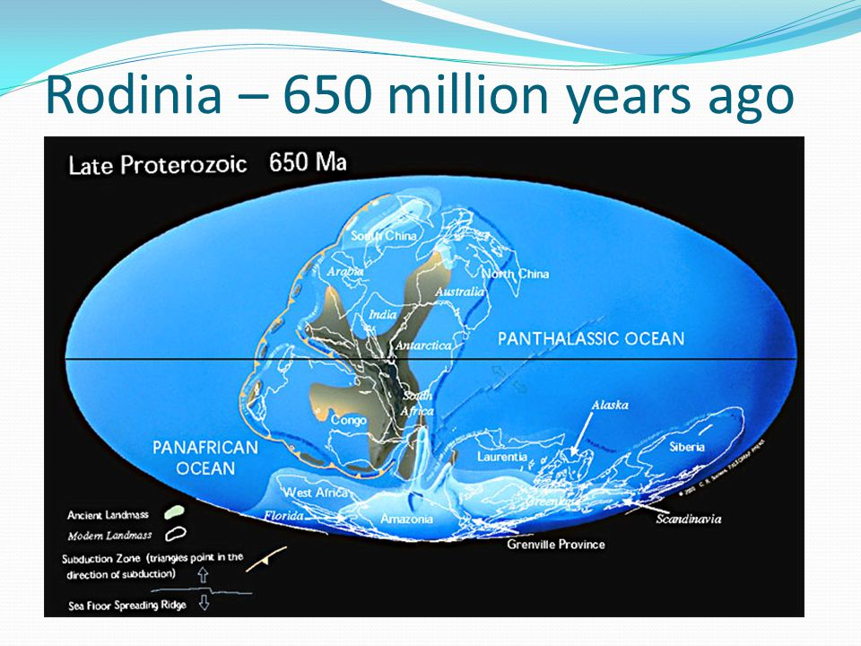 Rodinia – 650 million years ago