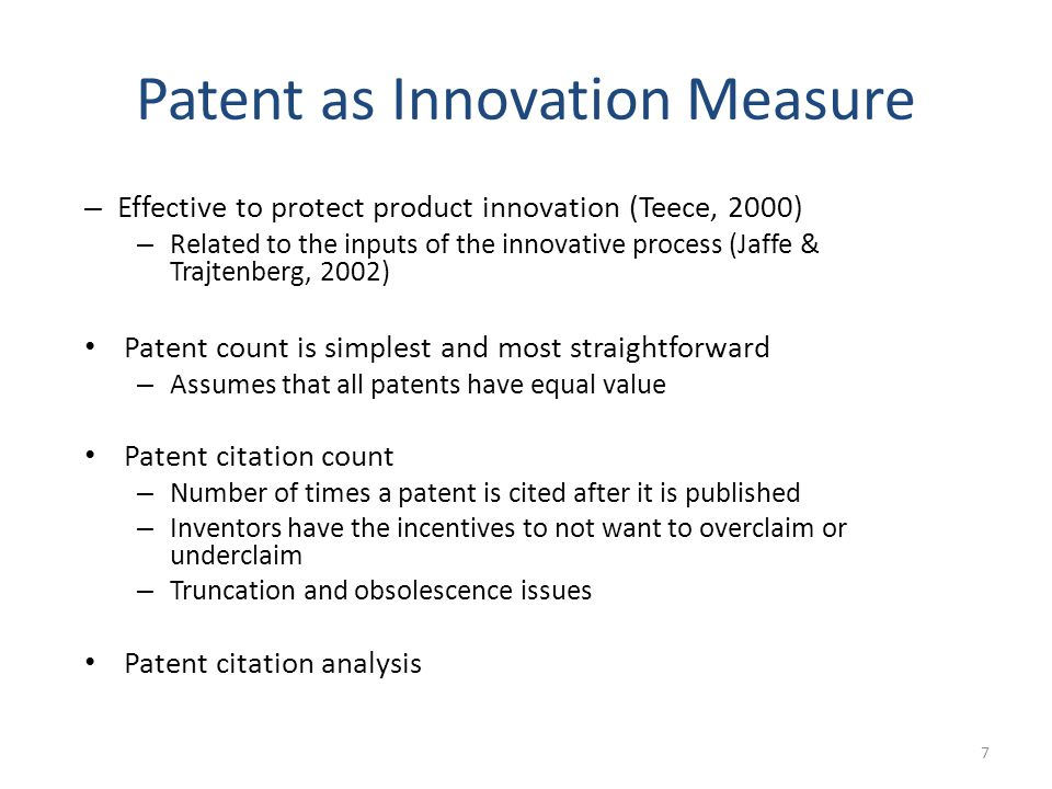 Patent as Innovation Measure