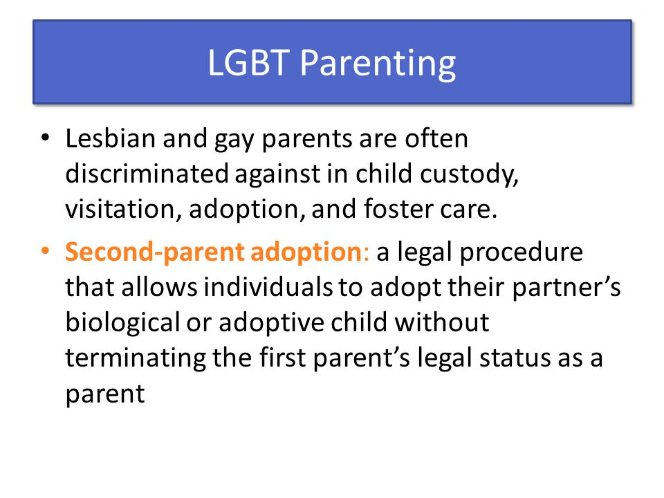 LGBT Parenting Lesbian and gay parents are often discriminated against in child custody, visitation, adoption, and foster care.