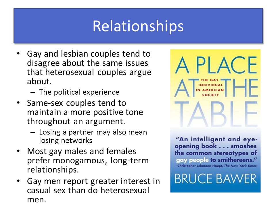 Relationships Gay and lesbian couples tend to disagree about the same issues that heterosexual couples argue about.