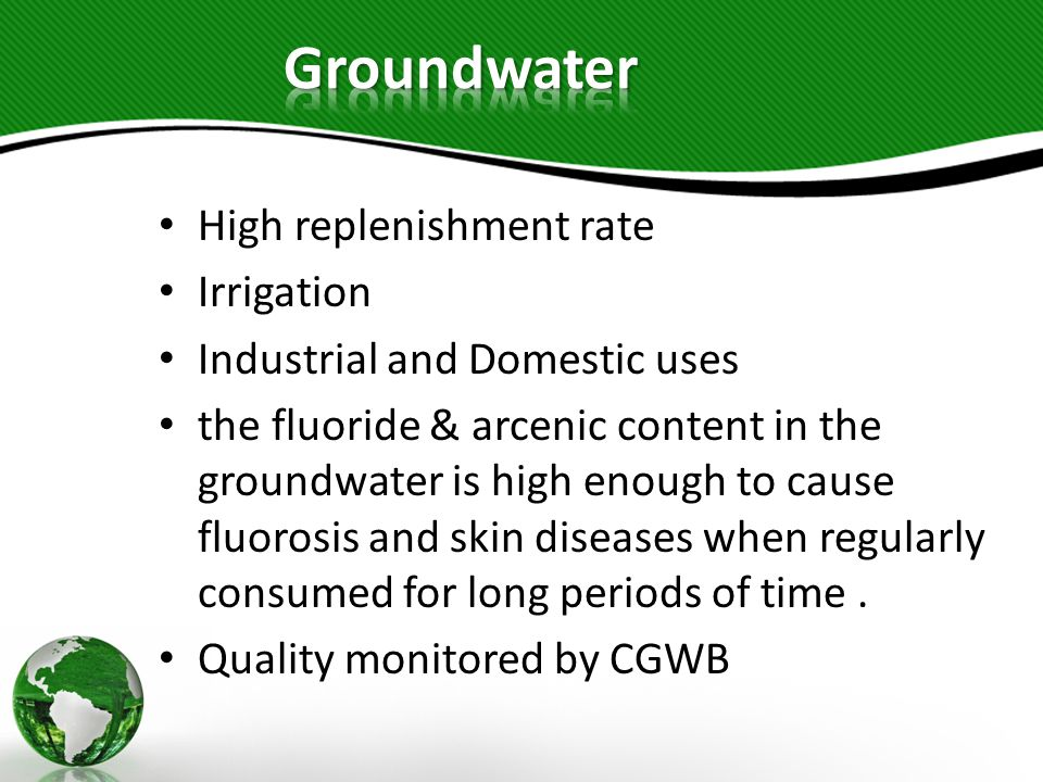 Groundwater High replenishment rate Irrigation