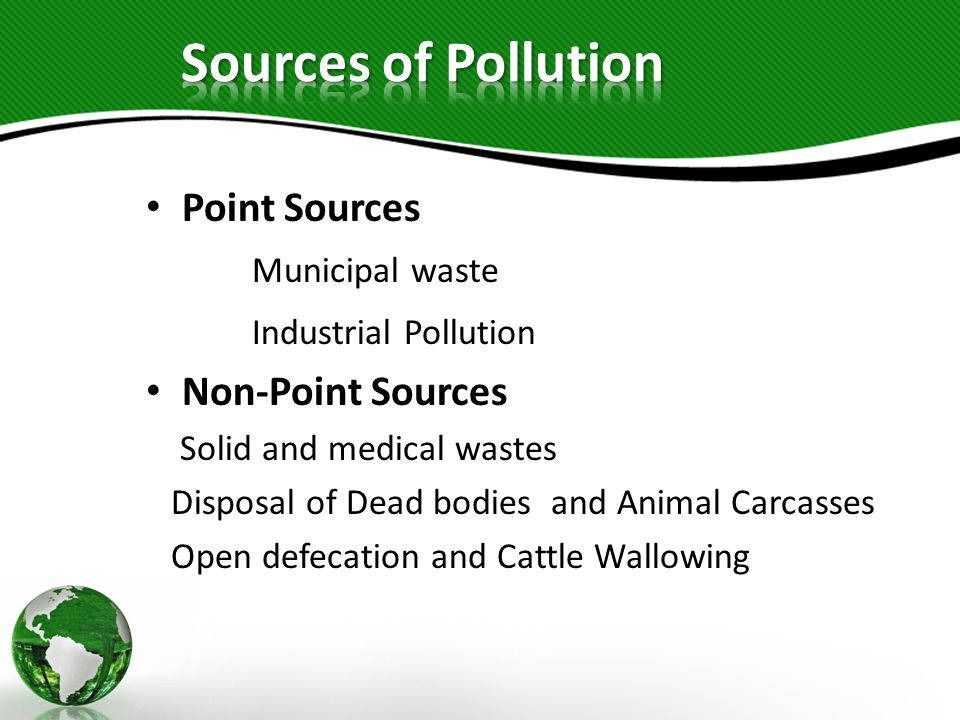 Sources of Pollution Point Sources Municipal waste