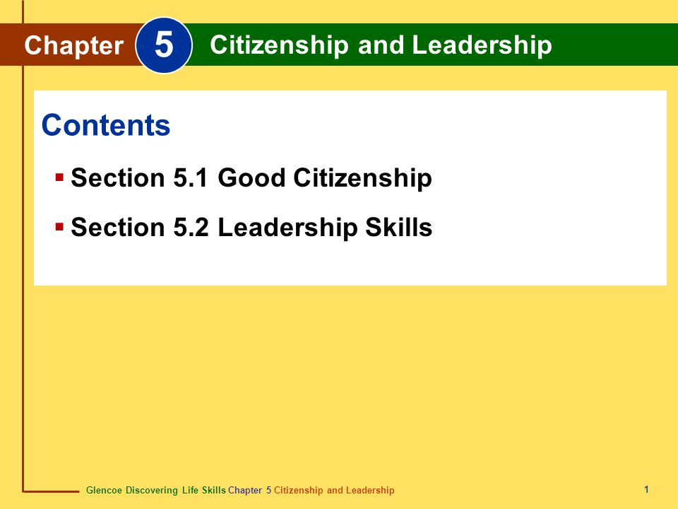 5 Contents Chapter Citizenship and Leadership