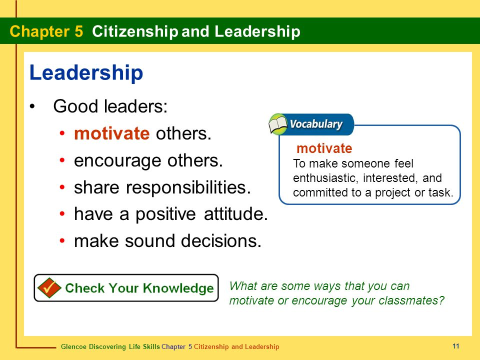 Leadership Good leaders: motivate others. encourage others.