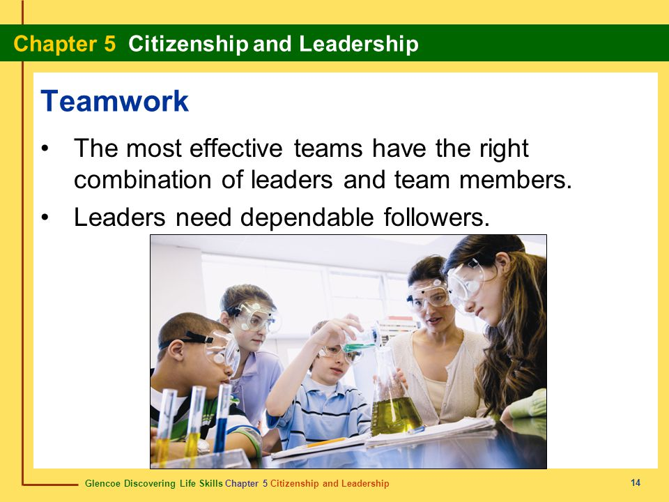 Teamwork The most effective teams have the right combination of leaders and team members. Leaders need dependable followers.