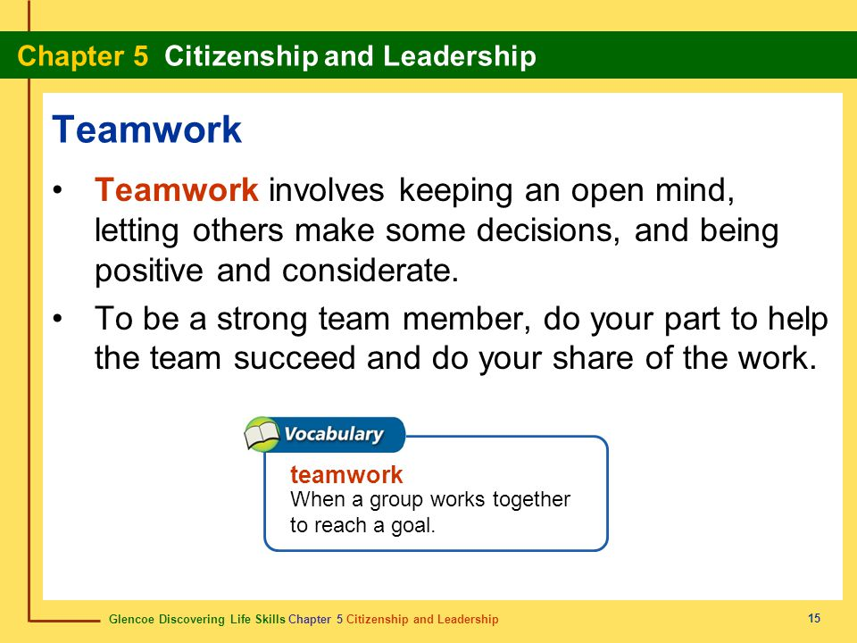 Teamwork Teamwork involves keeping an open mind, letting others make some decisions, and being positive and considerate.