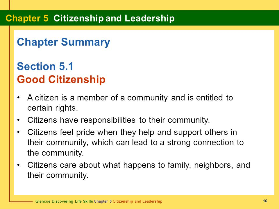 Chapter Summary Section 5.1 Good Citizenship