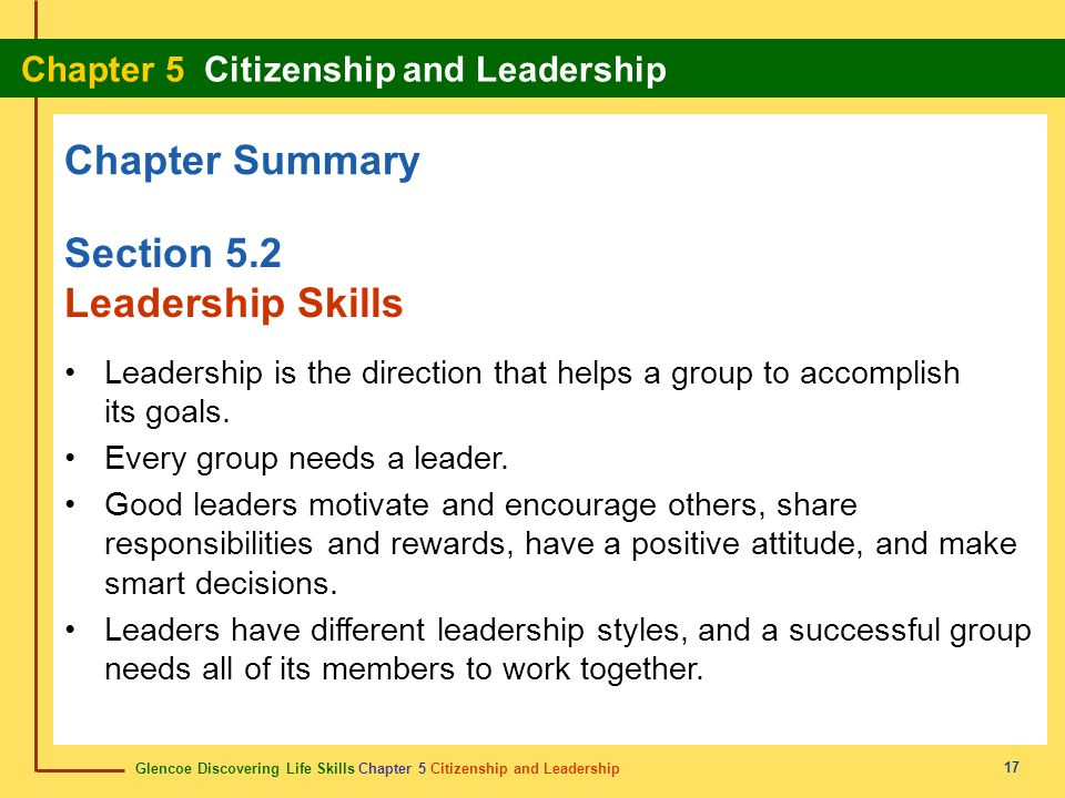 Chapter Summary Section 5.2 Leadership Skills