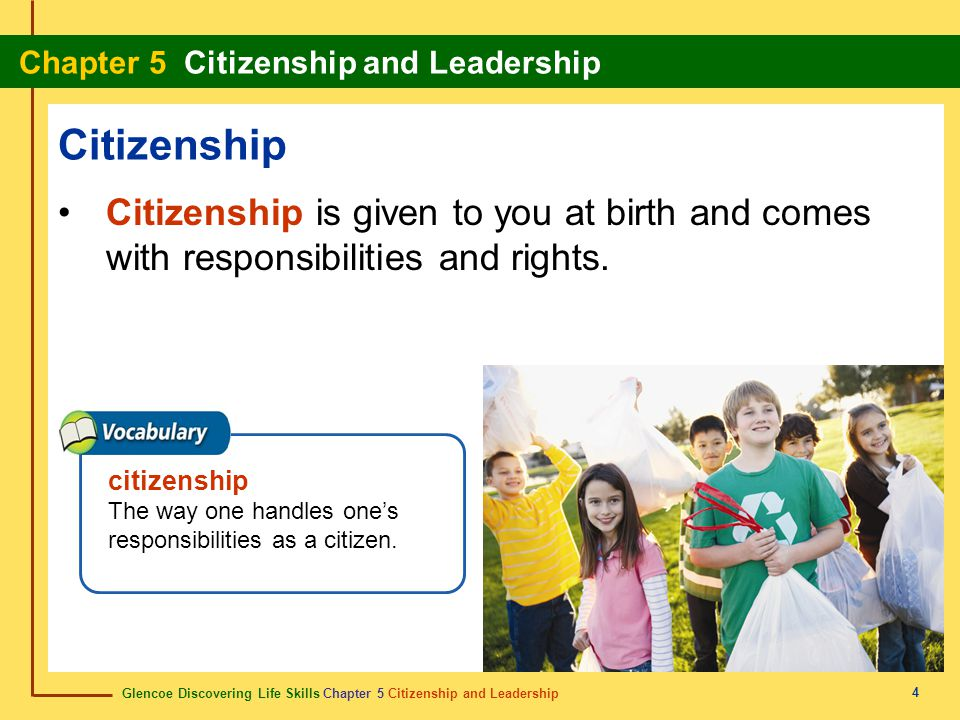 Citizenship Citizenship is given to you at birth and comes with responsibilities and rights. citizenship.