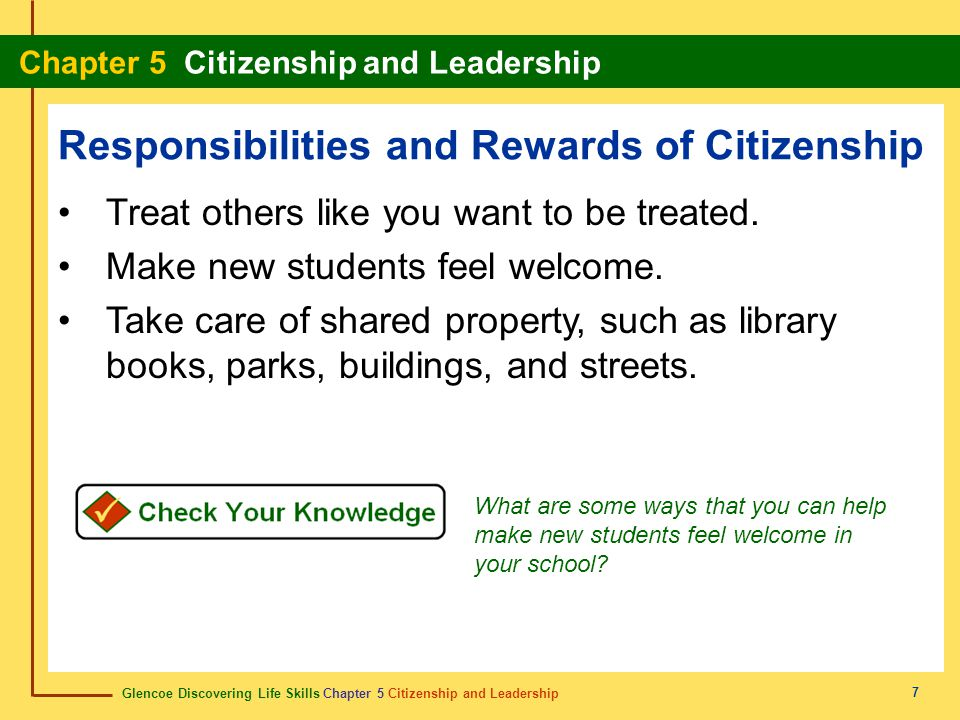 Responsibilities and Rewards of Citizenship