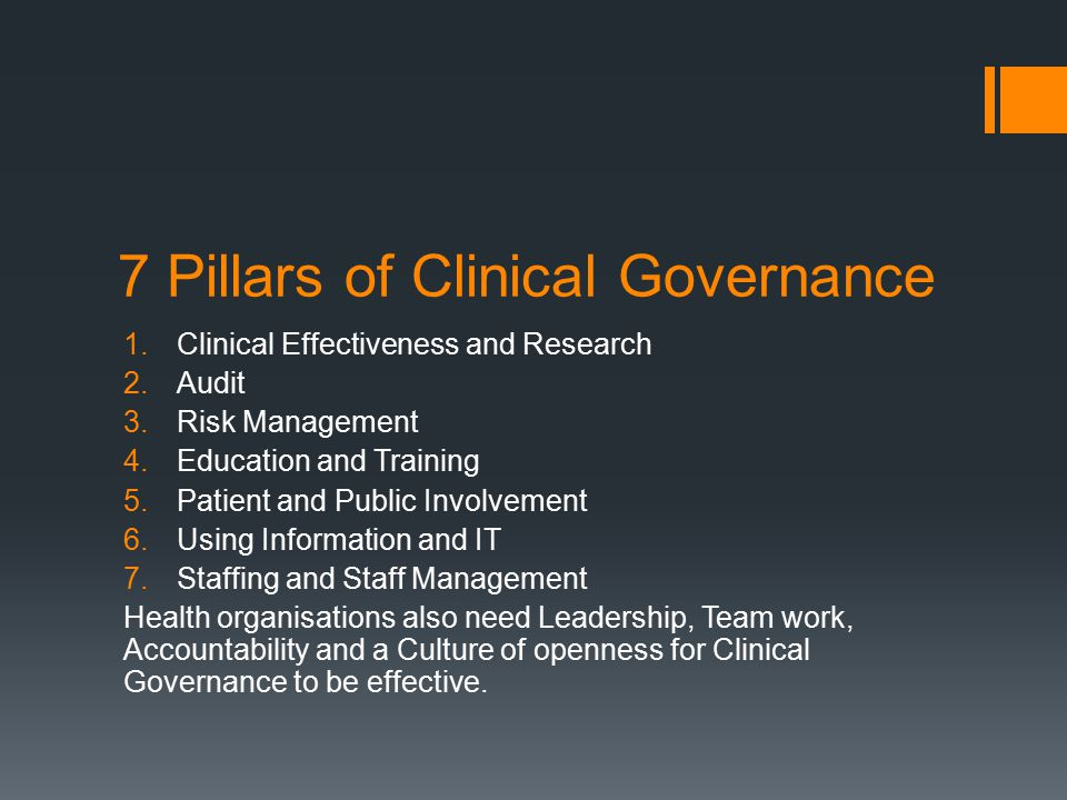 7 Pillars of Clinical Governance