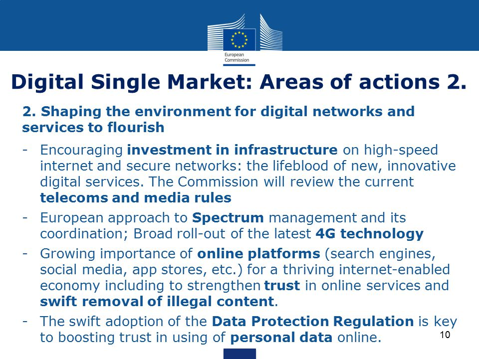 Digital Single Market: Areas of actions 2.