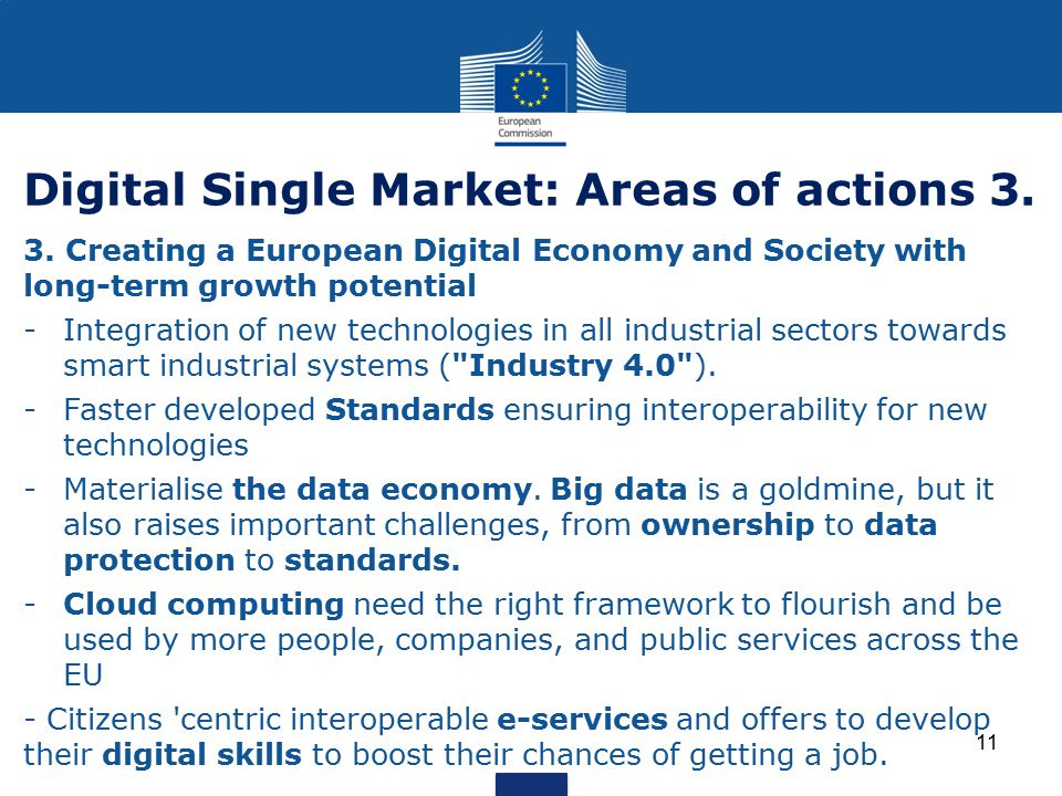 Digital Single Market: Areas of actions 3.