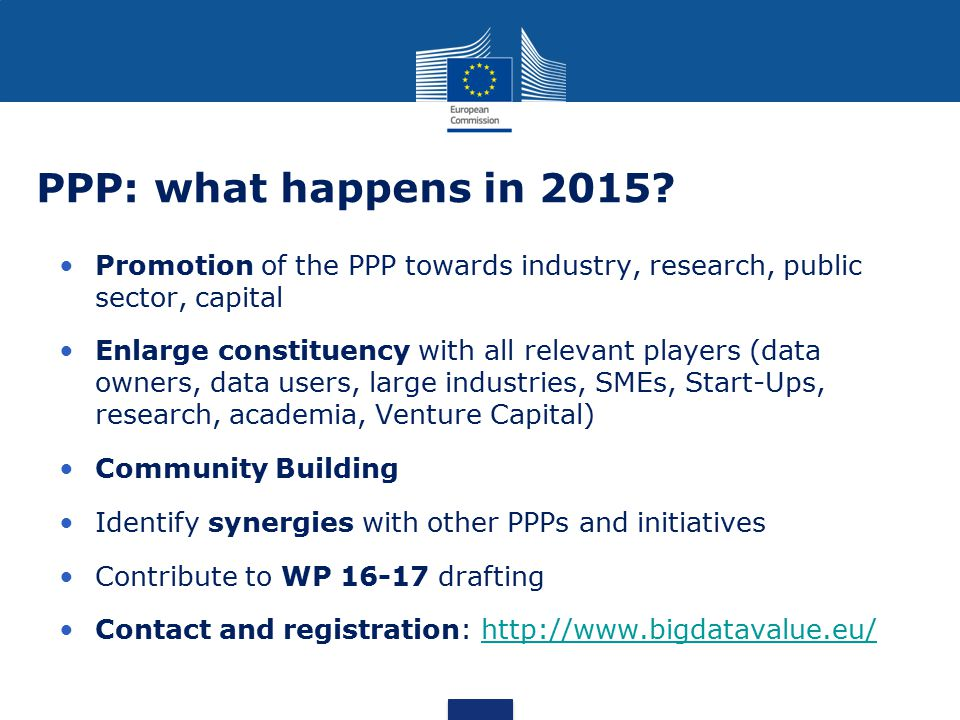 PPP: what happens in 2015 Promotion of the PPP towards industry, research, public sector, capital.