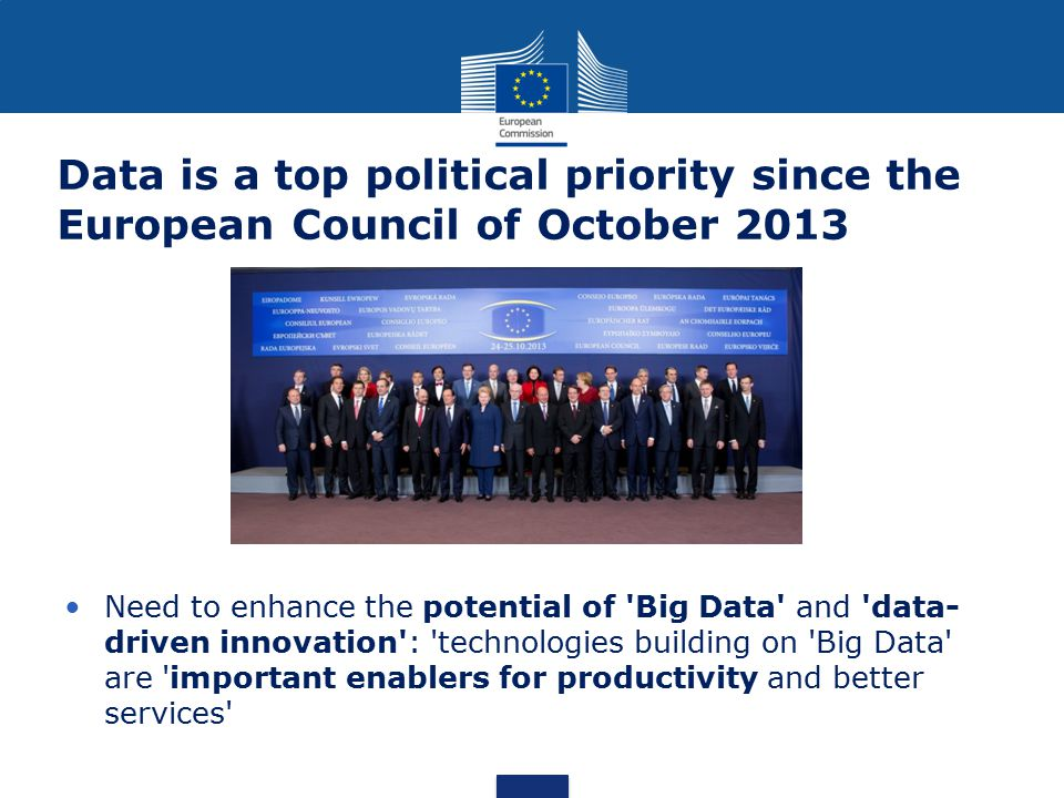 Data is a top political priority since the European Council of October 2013