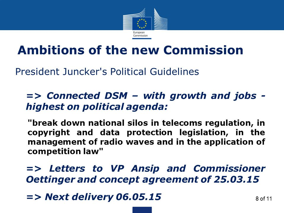 Ambitions of the new Commission