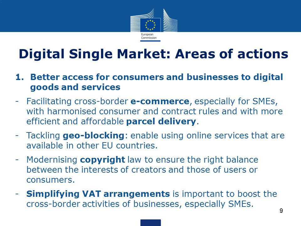 Digital Single Market: Areas of actions