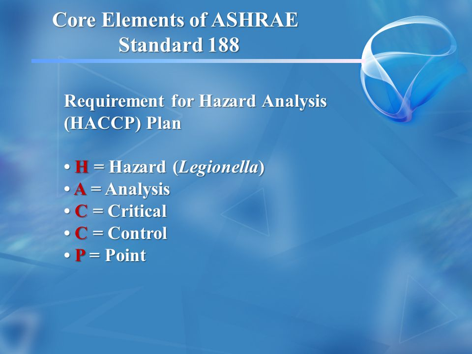 Core Elements of ASHRAE Standard 188