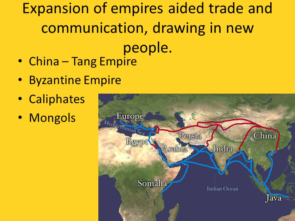 Expansion of empires aided trade and communication, drawing in new people.