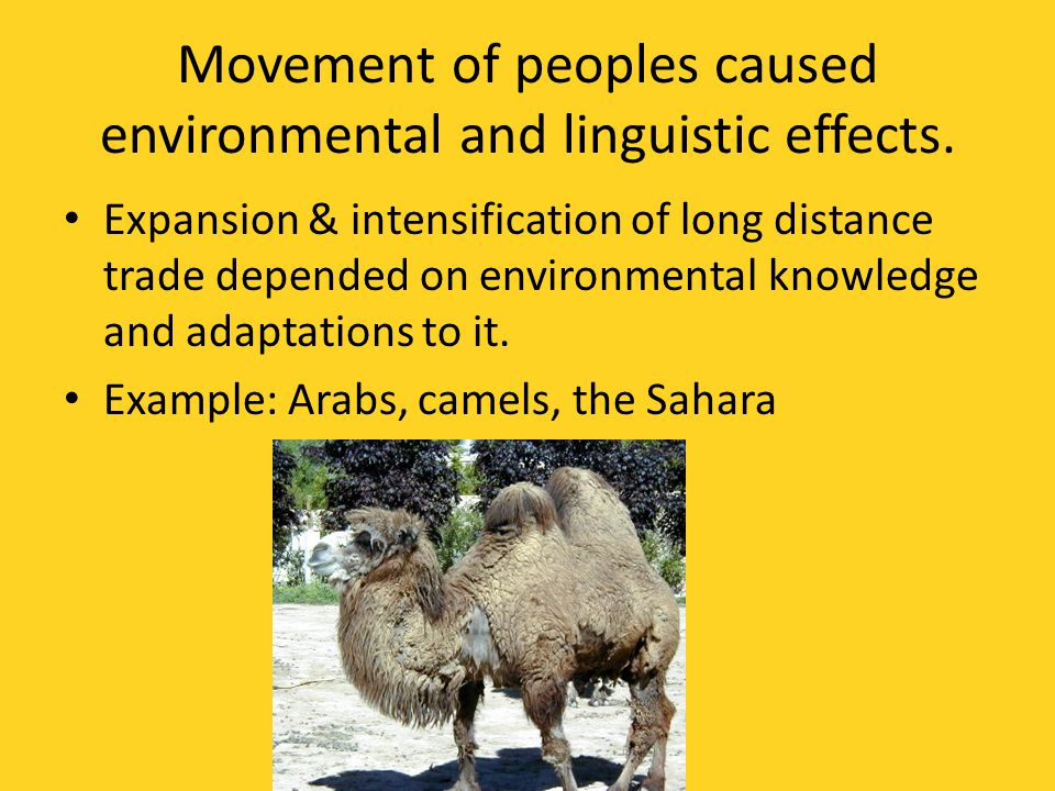 Movement of peoples caused environmental and linguistic effects.