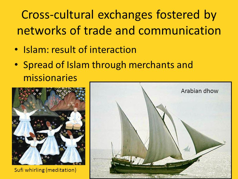 Cross-cultural exchanges fostered by networks of trade and communication