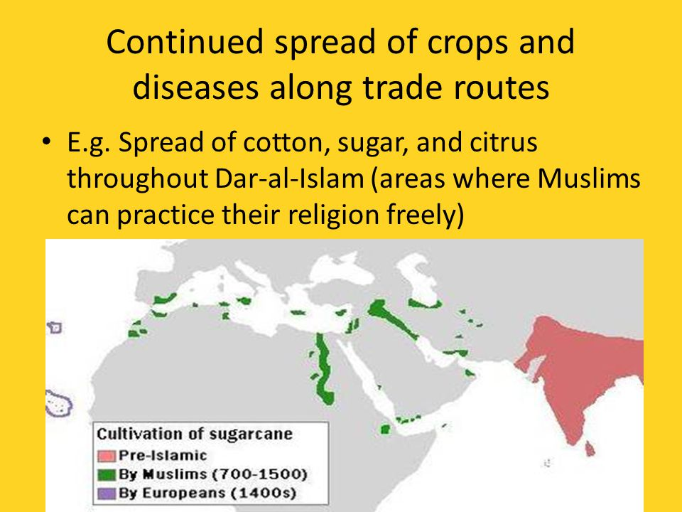 Continued spread of crops and diseases along trade routes