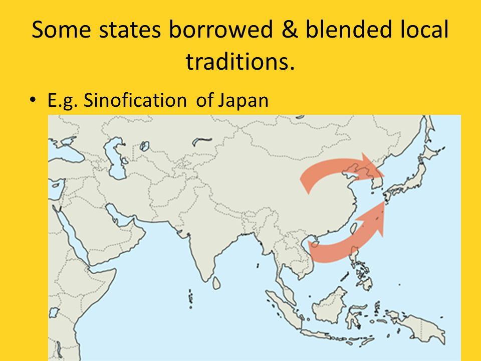 Some states borrowed & blended local traditions.