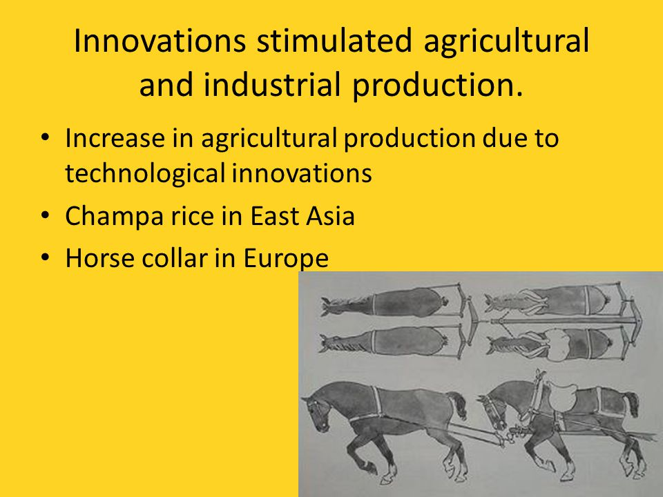 Innovations stimulated agricultural and industrial production.