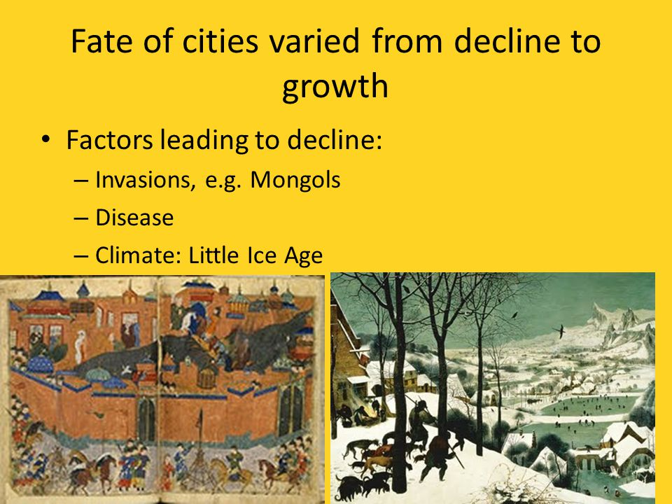 Fate of cities varied from decline to growth