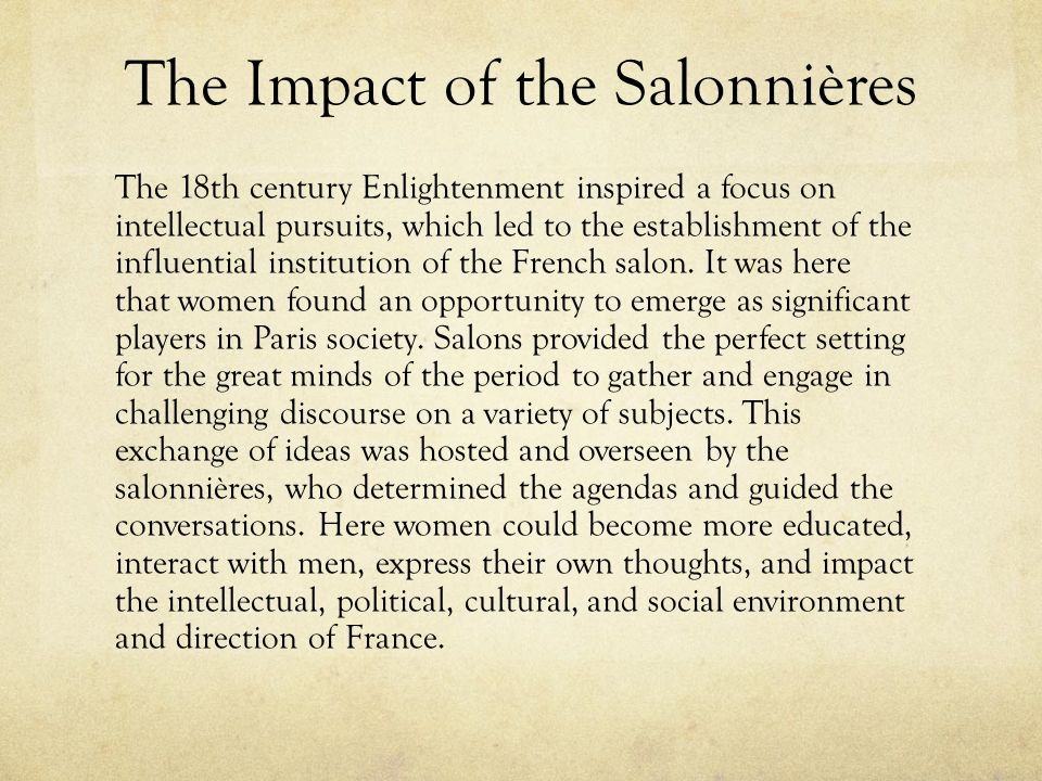 The Impact of the Salonnières