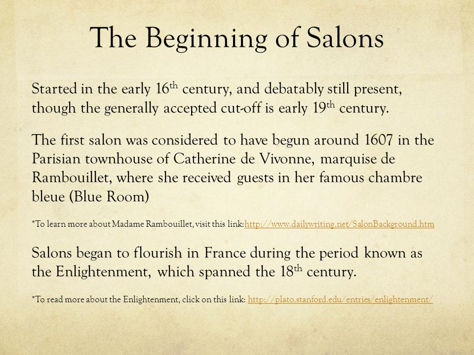 The Beginning of Salons