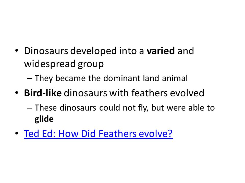 Dinosaurs developed into a varied and widespread group