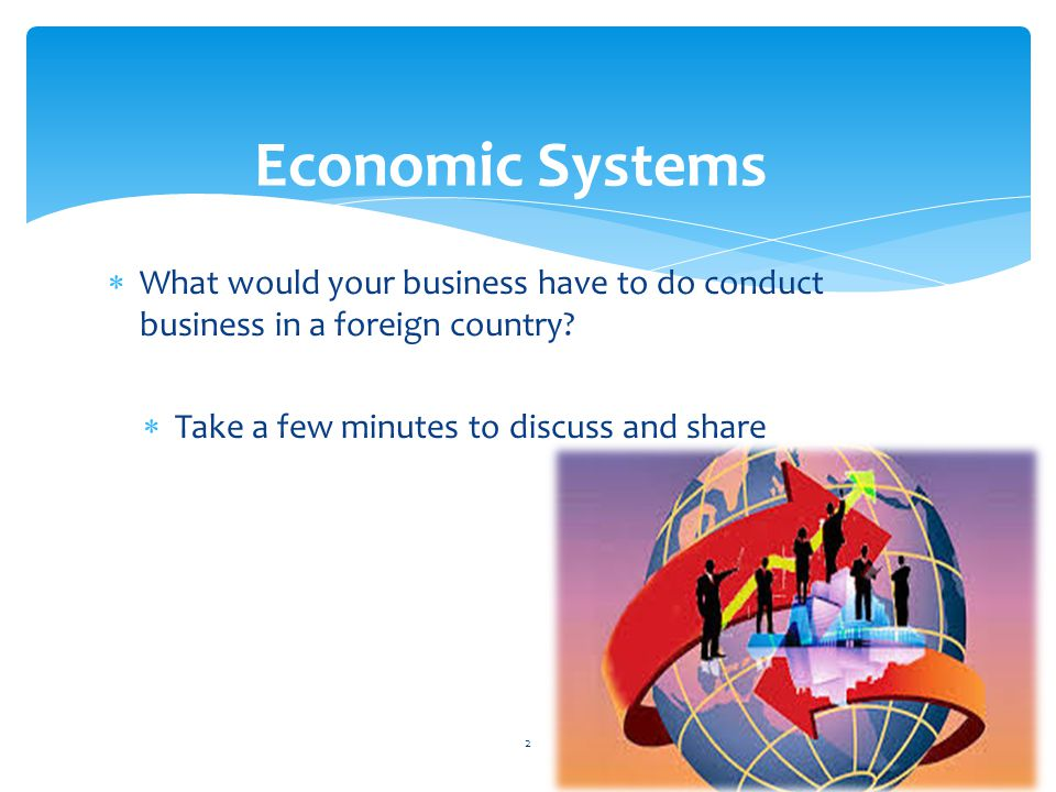 Economic Systems What would your business have to do conduct business in a foreign country.