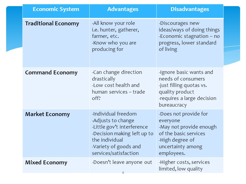 Economic System Advantages Disadvantages