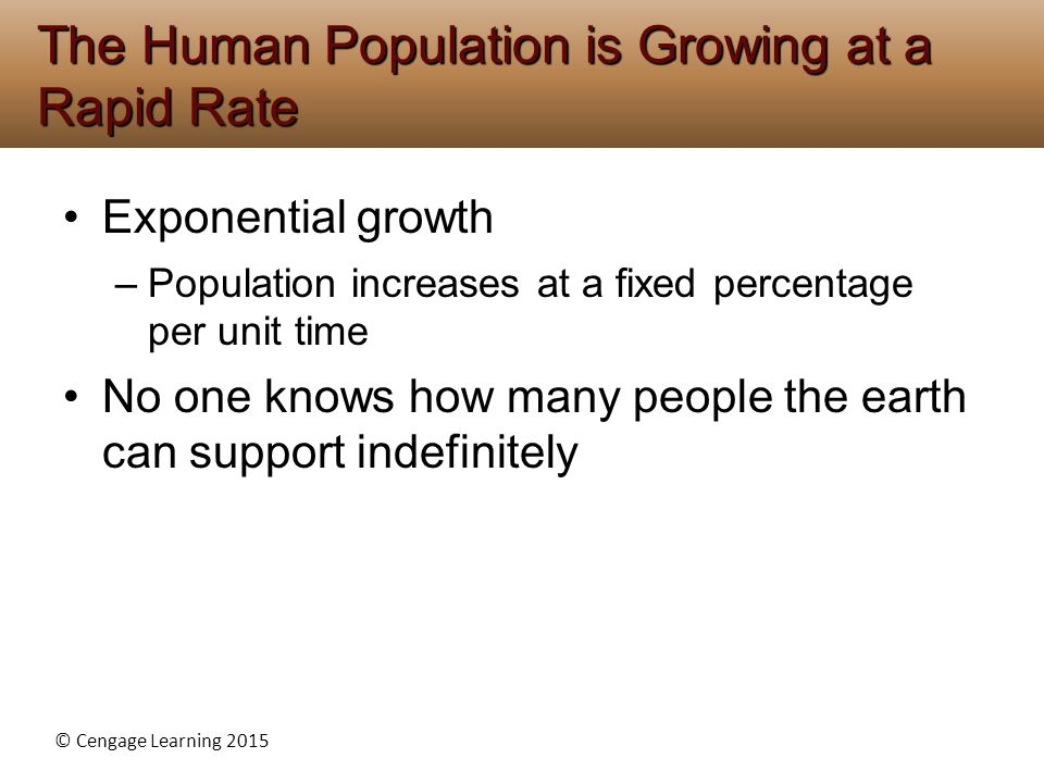 The Human Population is Growing at a Rapid Rate