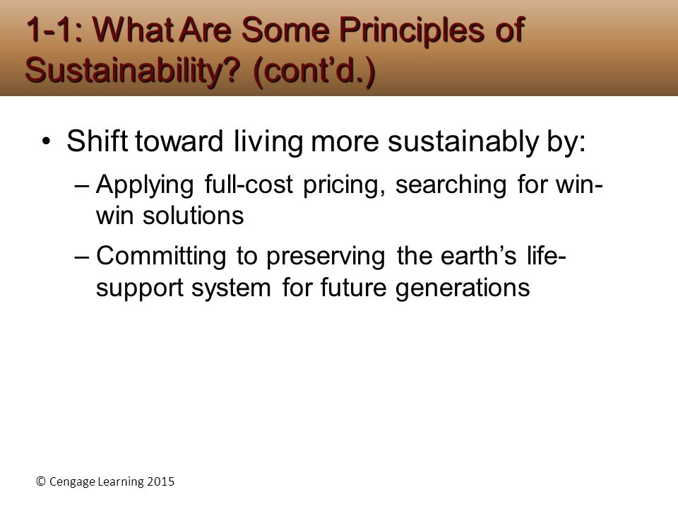 1-1: What Are Some Principles of Sustainability (cont'd.)