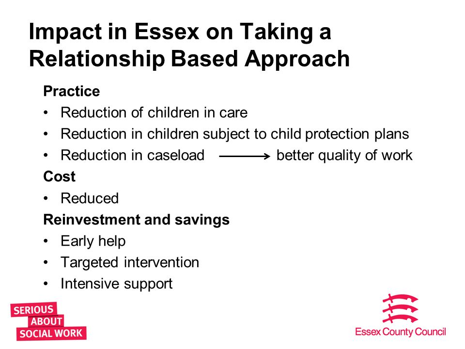 Impact in Essex on Taking a Relationship Based Approach