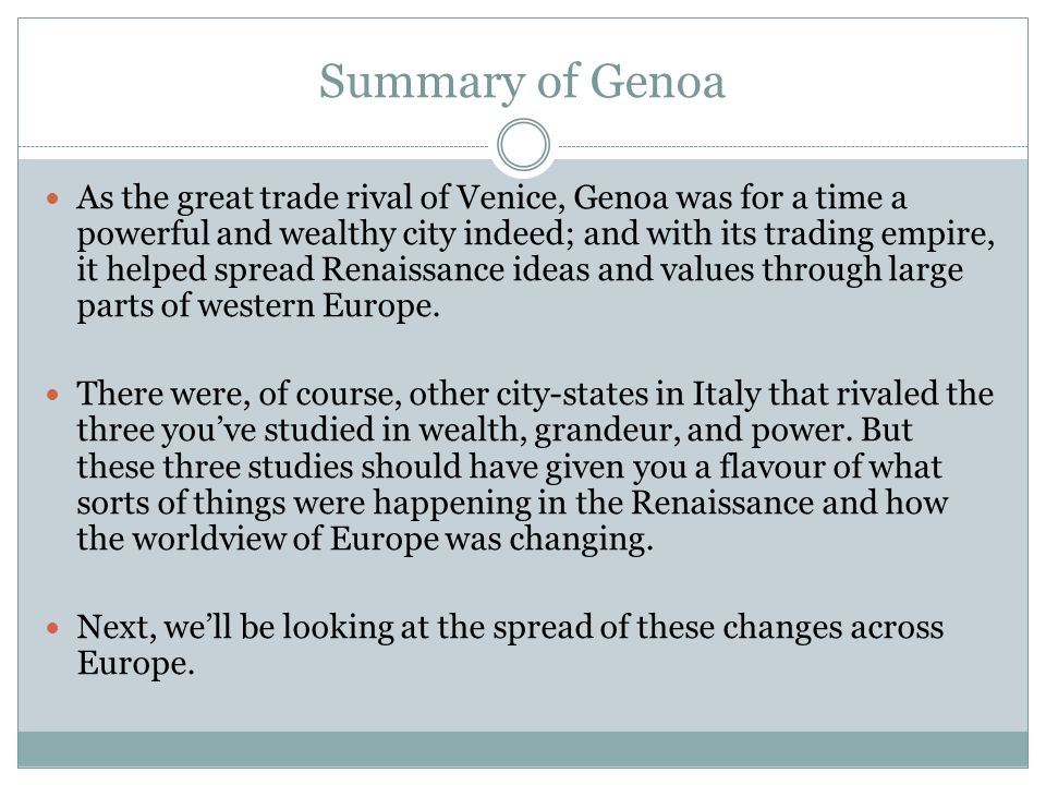Summary of Genoa