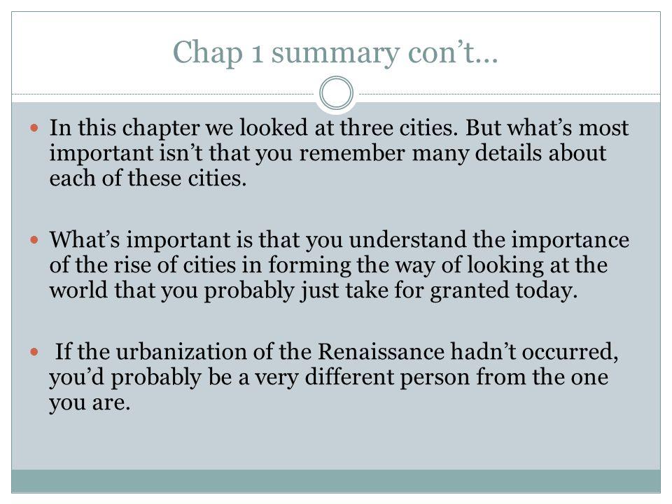 Chap 1 summary con't…
