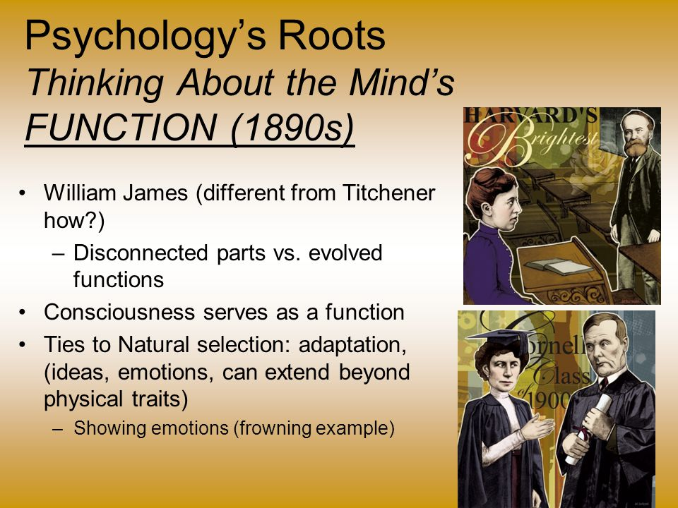 Psychology's Roots Thinking About the Mind's FUNCTION (1890s)